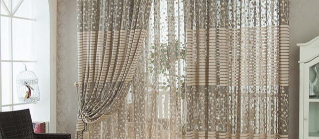 Helen Curtain 2 Layers Leaves Jacquard Tulle Curtain For Living Room Breathable Sheer Window Curtain Tulle