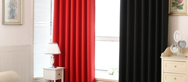 Red Curtain Pure Black Shading Cloth Double Shade French Window Curtains Cortinas For Living Room Cortina